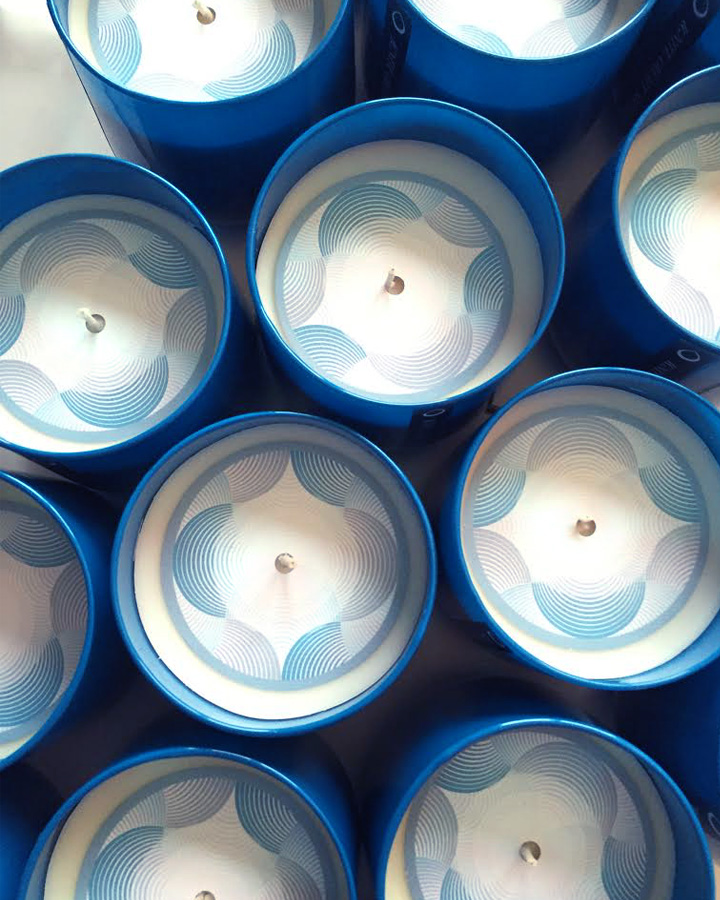 top view of Hagopian Ink holiday candles