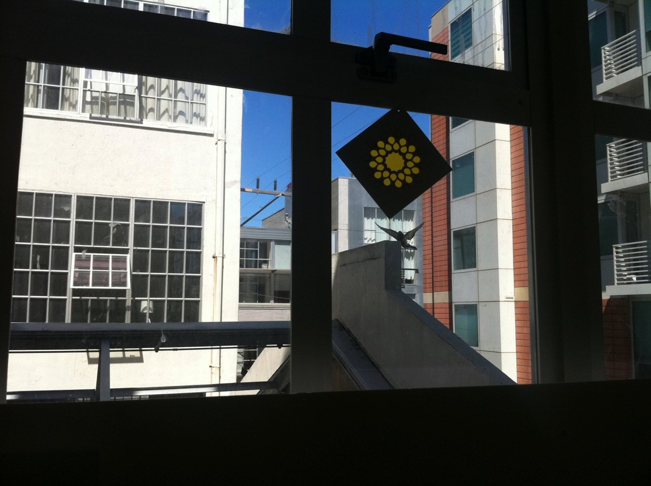 photo of suncatcher in window with blue sky and modern buildings in San Francisco