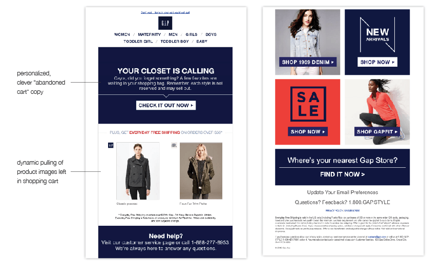 GAP Abandoned Cart Email