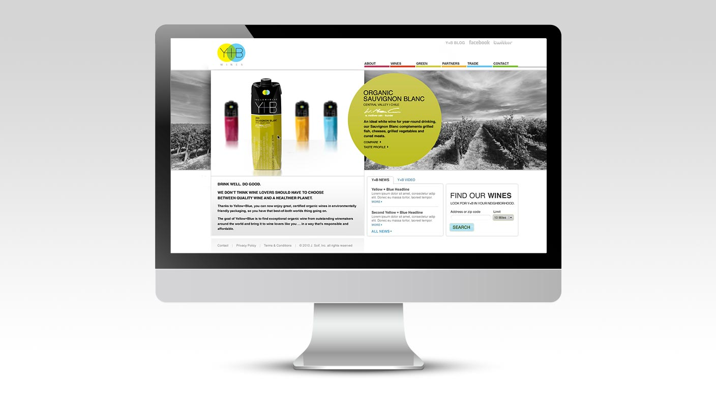Yellow and Blue Wines website as viewed on a desktop computer