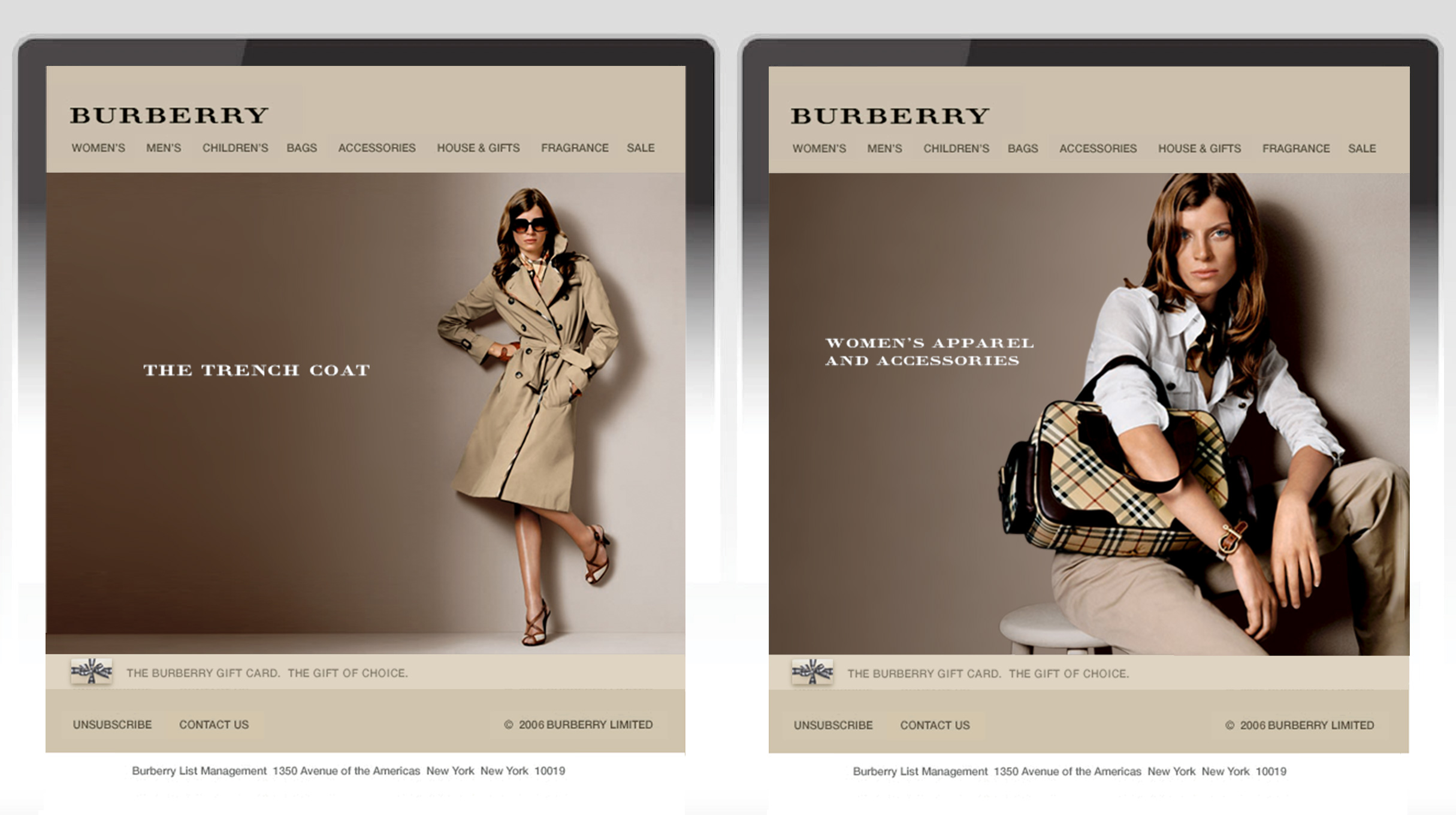 Burberry email model imagery