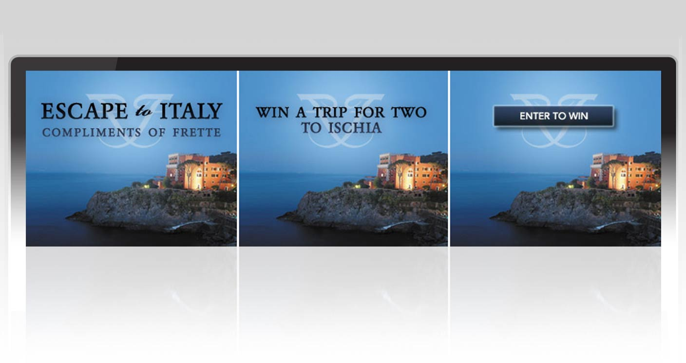 Three frames from an animated banner ad promoting the Escape to Italy contest.